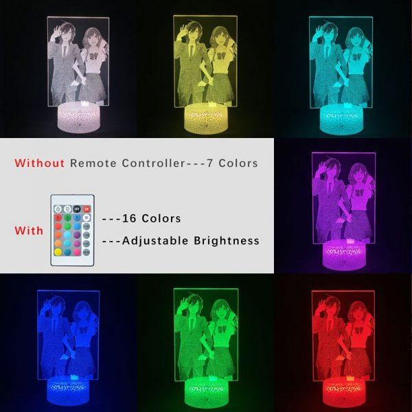 3D Picture Lamp Anime Nightlight RGB Color Horimiya Alarm Clock Base Bedside Fans Around Room DecorTeenager 5 - Horimiya Merch Store